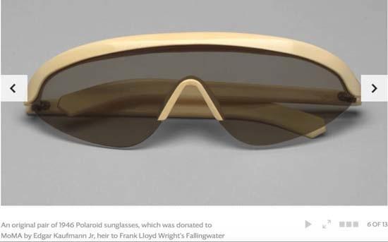 Nova York: óculos Polaroid datados de 1946 no acervo do museu de arte moderna local, o MoMa